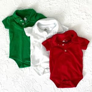 Primary | Polo Short Sleeve Bodysuits (0-3 mos)